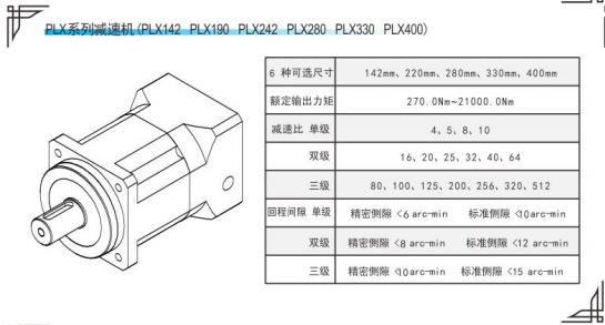 PLX系列精密行星减速机参数表
